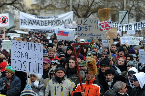 People rally against corruption among politicians at SNP Square in Bratislava, Slovakia, February 3, 2012.
