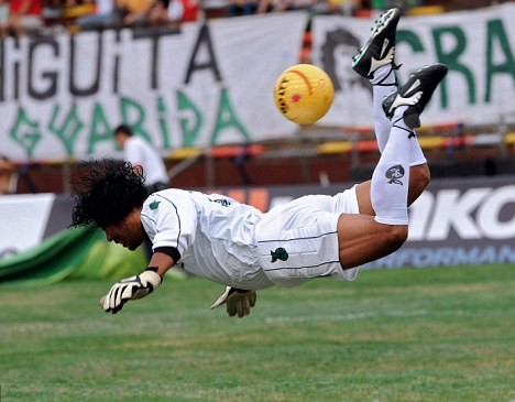 """Colombian football goalkeeper nicknamed """"El Loco"""" and the creator of the Scorpion kick. Rene was considered one of the most 'unique' goal keepers of all time due to his 'crazy' style of playing and impressive plays"""