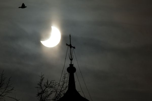 Solar Eclipse on Russian Orthodox Cathedral
