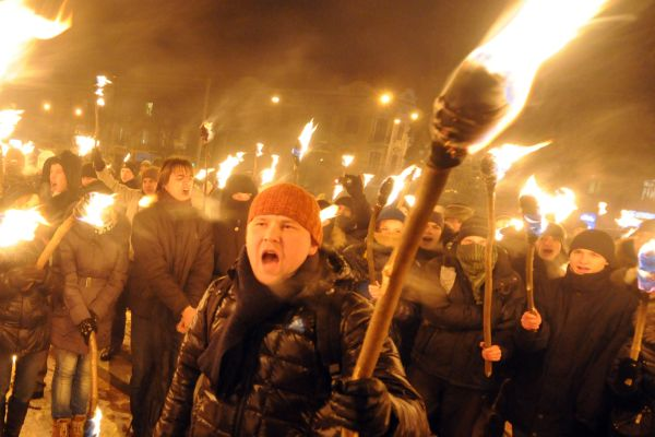 Some 600 Ukraine nationalists, carrying torches, march in the western Ukrainian city of Lviv late on January 29, 2012 marking the 94th anniversary of a battle near the small city of Kruty.