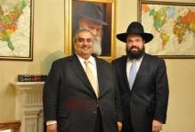 Bahraini Foreign Minister Shaikh Khalid bin Ahmed Al Khalifa with Rabbi Levi Shemtov