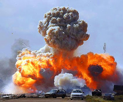 Libya Tripoli being bombed by NATO forces