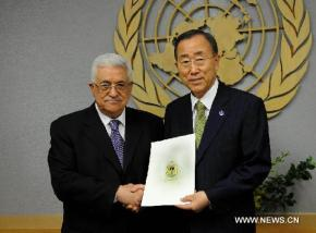 Palestinian President with UN Secretary General Ban Ki Moon