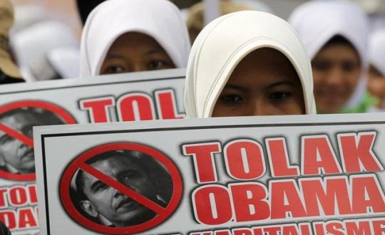 Indonesians protest against Obama visit