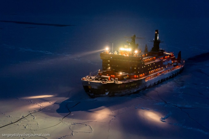 Ice Breaker Ship at the North Pole Making way for the Ships