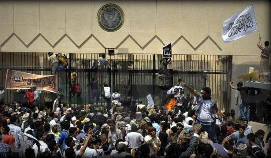 US Embassy Stormend up by the Protesters in Sanaa , Yemen