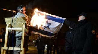 Hungarian MP Balazs Lenhardt Burns Israeli Flag