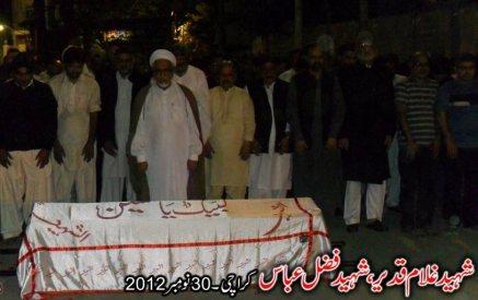 Shaheed Ghulam Qadeer , Fazal Abbas 30 Nov 2012 , Karachi a