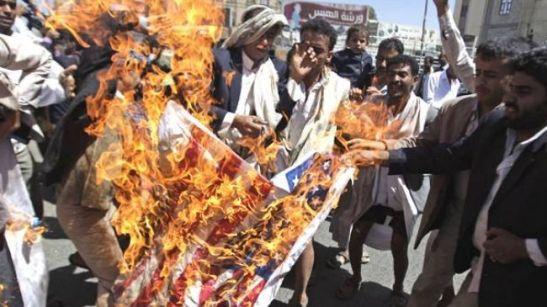 Yemeni Hodl Anti US , Anti Israel Protest