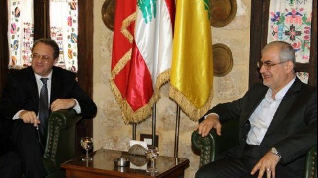 Russian Deputy Foreign Minister Mikhail Bogdanov with Lebanese MP Mohammad Raad