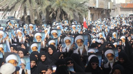 Bahraini Shia Stages a Protest Sit In agains the Raid on the House of Shia Cleric