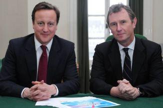 British PM David Cameron with MP Nigel Evans