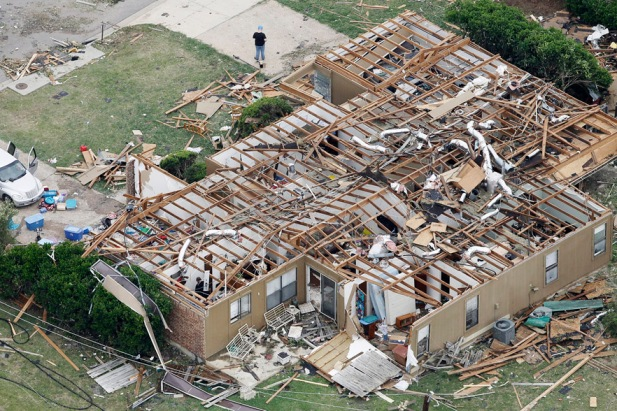 An aerial view shows the damage after tornados swept through Hood County