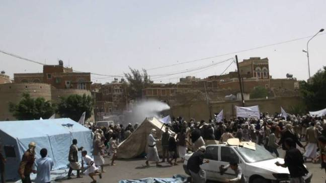 10 Houthi Protesters Killed By Security Forces , Sana , Yemen