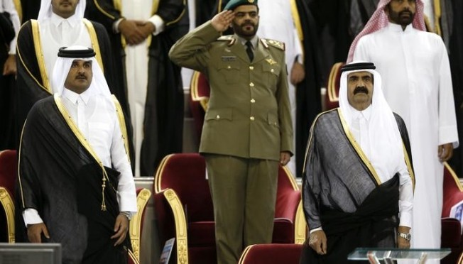 Qatar crown Prince tamim bin Hammad al Thani takes the Gaurd of Honour