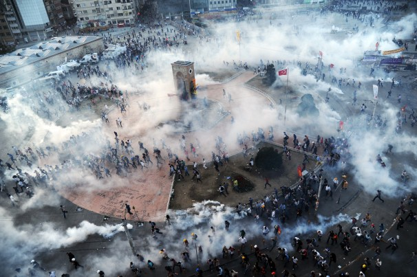 Turkish Protester in Taksim Square Tear Gassed