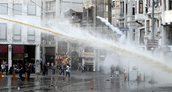 Turkish Police Fire Tear Gas Water Cannons at Protesters