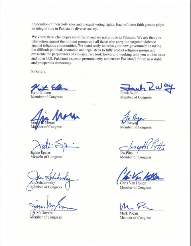 US Congress Men Letter to Nawaz Shariff on Shia Genocide in Pakistan. a