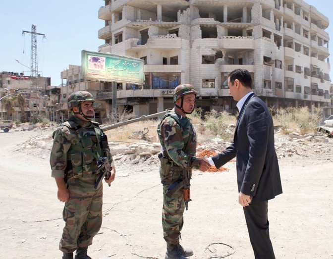 Bashar ul Asad with Syrian Soldiers near Syeda Sakina Shrine