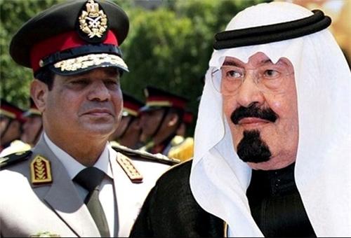 Saudi King Abdullah with Egyptian General Sisi