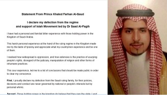 Khaled Farhan Al-Saud's defection statement