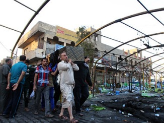 Double Suicide Attack on A Shia Funeral in Sadr City , Baghdad , Iraq 21.03.13 b