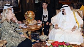 Saudi King Abdullah with Hilary Clinton