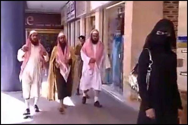 Saudi Religious Police chasing Woman
