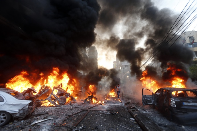Bomb Blast at the Al Manar TV Building in Beirut , Lebanon m