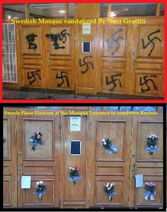 Sweden's Mosque vandalised by Nazi Grafitti , covered by Flowers