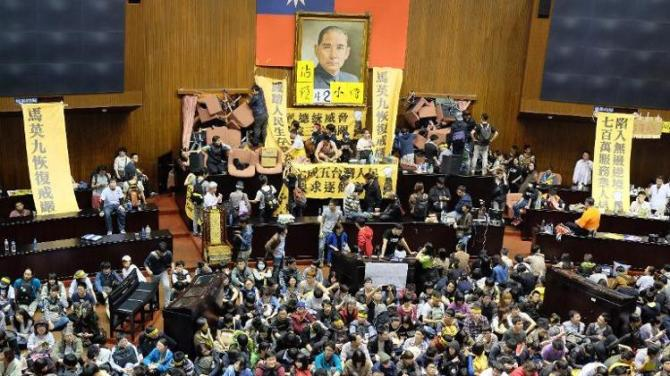 Taiwanese Protesters occupy Parliament