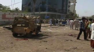 Bomb Blast @ Ch. Khaliq uz Zaman Road Clifton , Karachi , Pakistan
