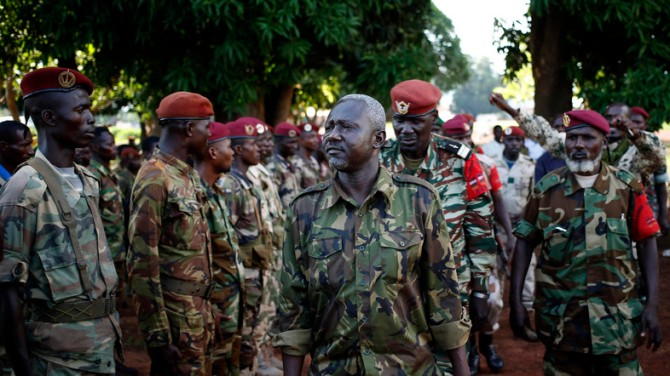 General Mohamed Dhaffane, Interim President of the Ex-Seleka coalition talks to Seleka fighters in the town of Bria