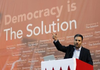 Khalil al-Marzouq of Al Wefaq speaks during an anti-government rally organized by his party in the village of Saar