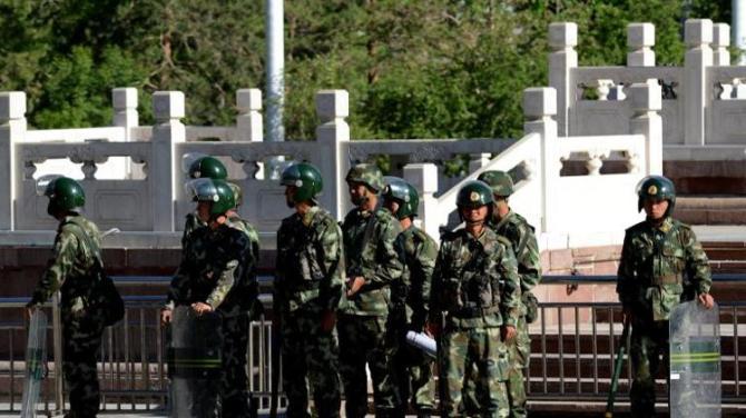 Chinese Police Gaurd against Wahabi terrorists