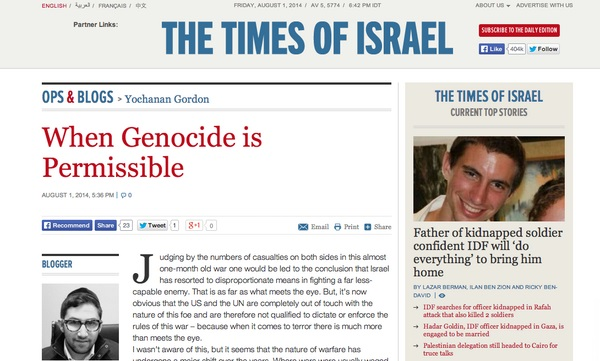Times of Israel , When Genocide is Permissible