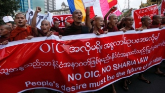 Buddhist Monks Rallies against Rohingya Muslim Right of Myanmars Citizenship