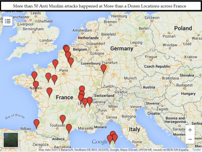 More than 50 Anti Muslim attacks at more than 2 Dozen Locations across France
