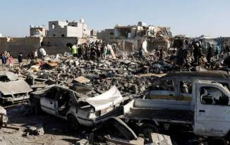Saudi Arabian Air Strike at Houthi Strong Hold