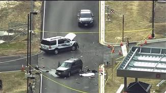 Video grab shows aerial view of shooting scene at the National Security Agency at Fort Meade in Maryland