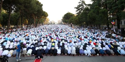 Albanian Muslims offering Eid Ul Fitr Prayers