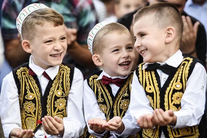Muslim Children in Kosovo celebrating Eid ul Fitr
