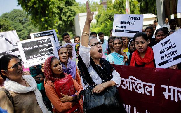 Indian Women Protest at Saudi Embassy Against Diplomat Accused of Rape
