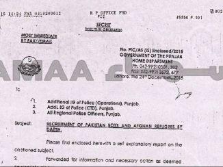 Daesh Recruitment from Lahore , Punjab 2015