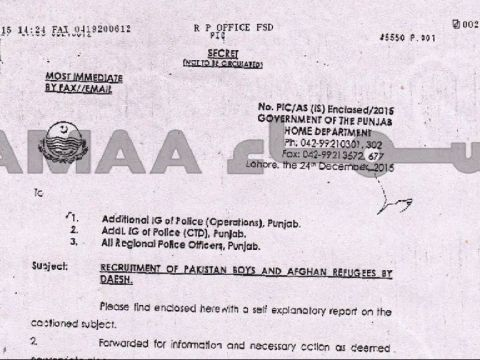 Daesh Recruitment from Lahore , Punjab 2015