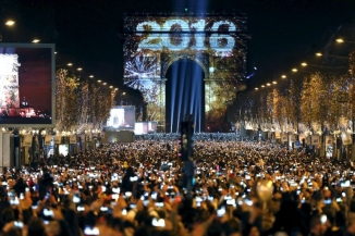 New Year Celebration @ Arc de Triomphe on the Champs Elysees Avenue in Paris, France 2016