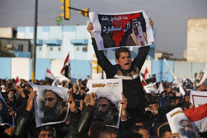 Supporters of Shi'ite cleric Moqtada al-Sadr protest against the execution of Shi'ite Muslim cleric Nimr al-Nimr in Saudi Arabia, during a demonstration in Baghdad